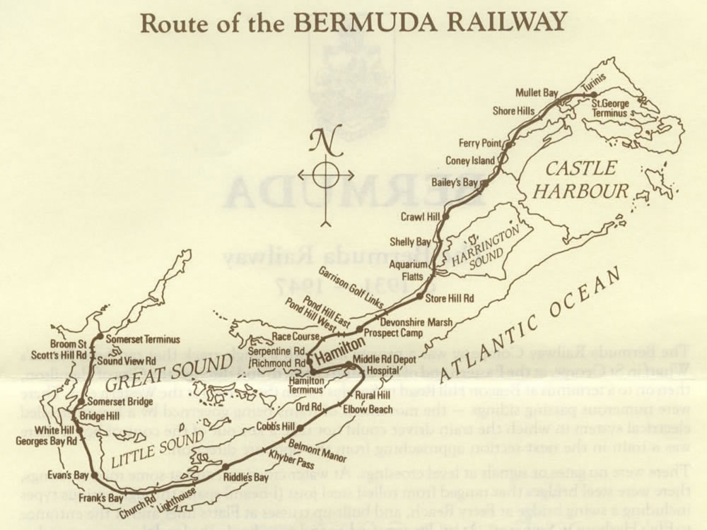 1987 Map of Bermuda Railway