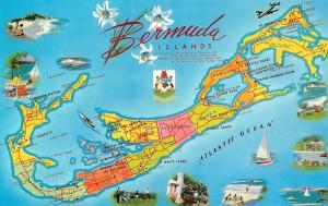 Bermuda Islands map postcard