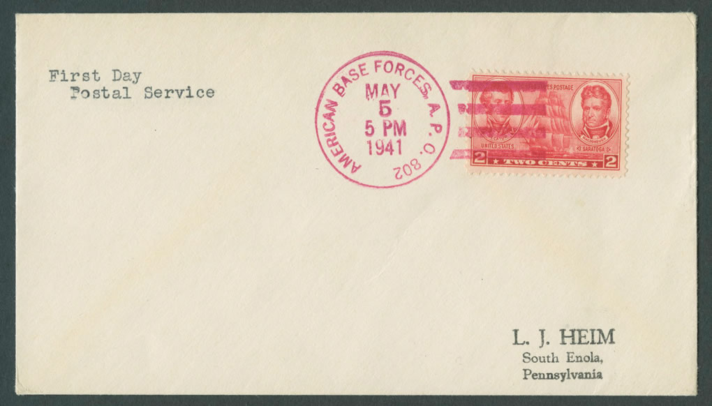 1941 First Day Postal Service APO 802 CC