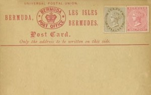 1880 Bermuda Post Card Stationery Foreign Rate