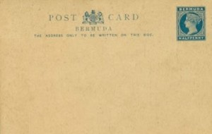 1885 Bermuda Post Card Stationery Inland Rate