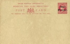 1893 Bermuda Post Card Stationery Foreign Rate Surcharged