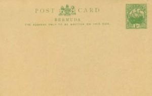 1912 Bermuda Post Card Stationery Inland Rate Caravel