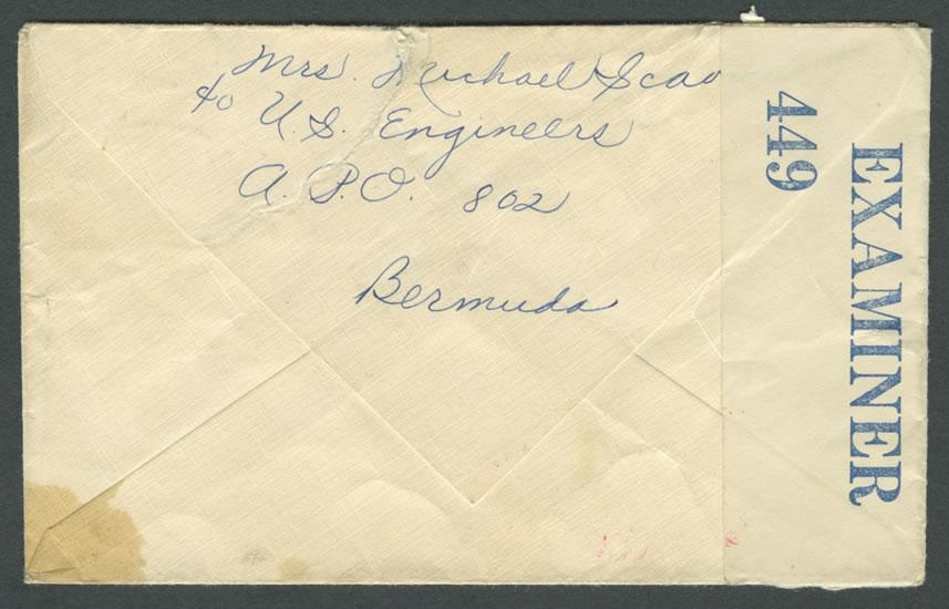 1941 Wartime Censor Letter - Reverse