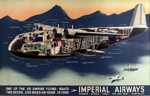 Short Empire Flying Boat cut away poster