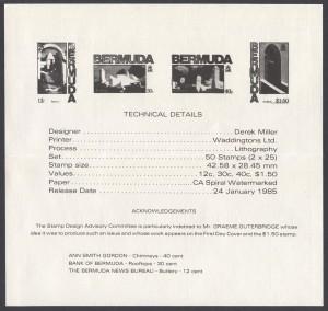 1985 Bermuda Architecture insert reverse FDC