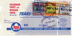 1952 TCA Airline Ticket showing £1 value fiscally used stamps