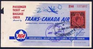 1953 TCA Airline Ticket showing £1 fiscally used stamp