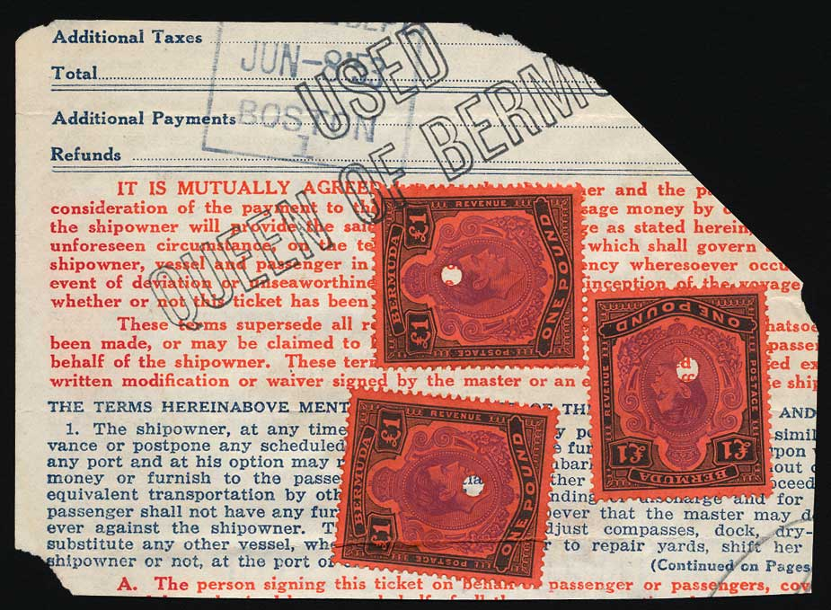 1953 Queen of Bermuda 3 x £1 fiscally used