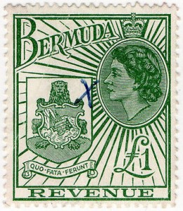 1954 Bermuda QEII Coat of Arms £1 Revenue Stamp