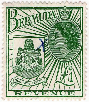 1954 Bermuda QEII Coat of Arms £1 Revenue Stamp