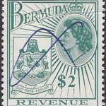1970 Bermuda QEII Coat of Arms $2 Revenue Stamp