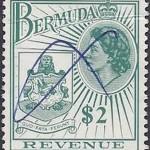 1970 Bermuda QEII Coat of Arms $2 Revenue Stamp